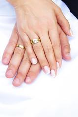 結婚指輪と手