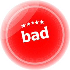 bad word on red stickers button, label
