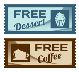 Free dessert and coffee coupons