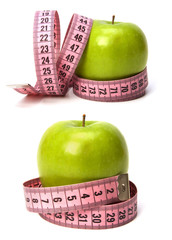 tape measure wrapped around the apple isolated on white backgro