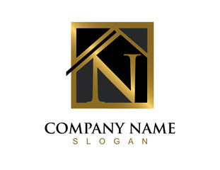 Gold letter N house logo