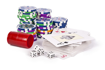 poker cards with chips and dice isolated