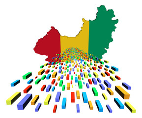 Guinea map flag with containers illustration