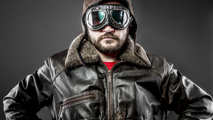 Travel, pilot cap and goggles motorcycle vintage style