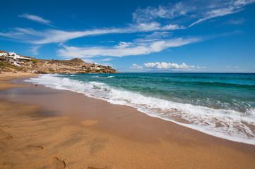 Paradise beach in Mykonos city, Greece