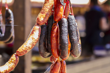 artisan sausages in a medieval fair