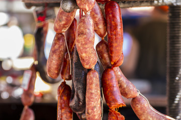 Party, artisan sausages in a medieval fair
