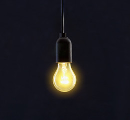 Light bulb lamp on black background