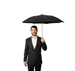 smiley businessman under umbrella
