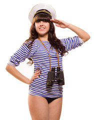 Navy pinup girl with binocular