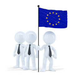 Team holding flag of European Union. Isolated. Clipping path