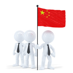 Business team holding flag of China. Isolated. Clipping path