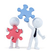 Business people with pieces of puzzle. Isolated. Clipping path