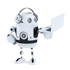 Robot with headphones and laptop. Isolated. Clipping path