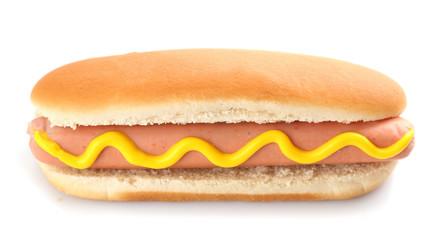 Tasty hot dog isolated on white