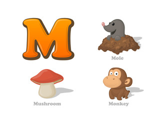 ABC letter M funny kid icons set: mole, mushroom, monkey
