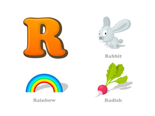 ABC letter R funny kid icons set: rabbit, rainbow, radish