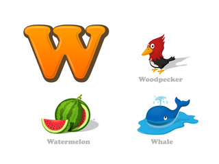 ABC letter W funny kid icons set: woodpecker, watermelon, whale