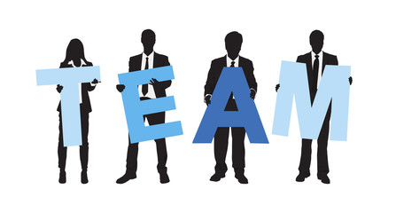 Silhouettes of Business People Holding Text Team