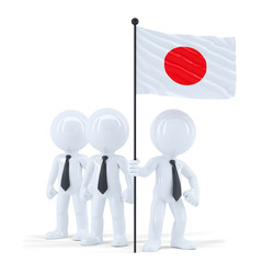Business team holding flag of Japan. Isolated. Clipping path