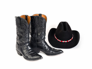 Cowboy Boots and Hat with Colorful Hatband.