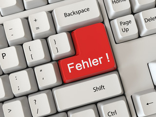 Keyboard with a word fehler