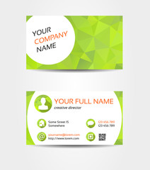 Green mosaic double sided business card