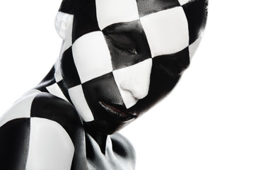 Portrait of woman in a checkerboard