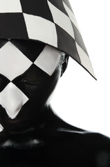 Haif  face with a chessboard on the head