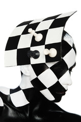 Portrait in hat form of a chess Board with figures