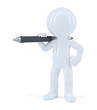 Man standing with a pen. Isolated. Clipping path.