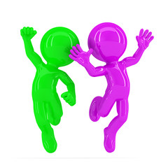 Happy jumping couple. Isolated. Clipping path
