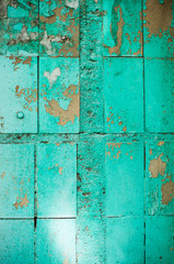 Painted green tiles