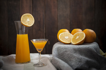 still life with  fresh orange juice