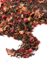 Dry loose berry tea with leaves