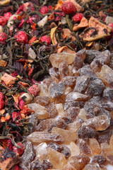 Loose berry tea and rock sugar