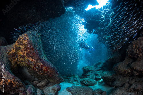 Foto op Canvas Onder water Diver in Underwater Cavern