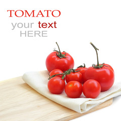 a tomato on chopping board (with sample text)