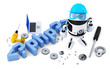 Robot with PHP sign. Technology concept. Isolated. Clipping path