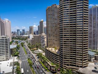 Condo towers overlooking Ala Moana Boulevard