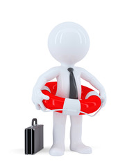 Businessman with a lifebuoy. Isolated. Contains clipping path.