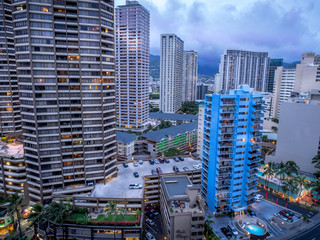 Waikiki skyline in the evening