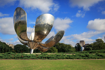 Floralis Generica is a sculpture made of steel and aluminum loca
