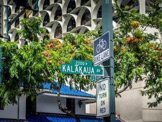Kalakaua Avenue road sign.