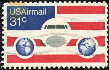 image of Plane and Globes on red white and blue background