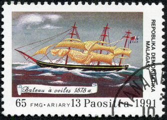 stamp printed in the REPUBLICA MALAGASY, shows Boat sails