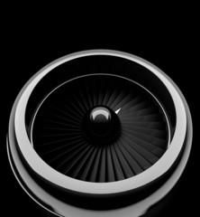 Front view of jet engine