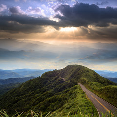 beautiful mountain road with nice sky