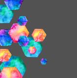 Watercolor bright hexagon