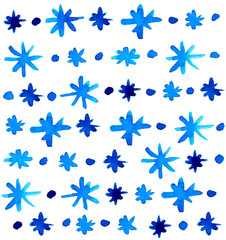 Watercolor beautiful blue snowflakes background